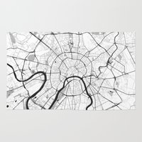moscow Area & Throw Rugs featuring Moscow Map Gray by City Art Posters