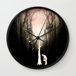 Revenge of the nature II: growing red forest above the city. Wall Clock