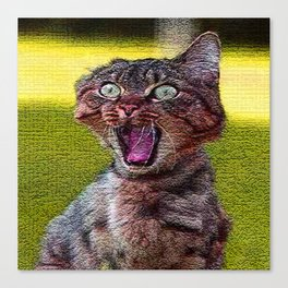 funny cat shocked Canvas Print