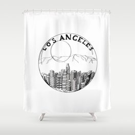 Los Angeles city in a glass ball 2  Home Decor Graphicdesign Shower Curtain