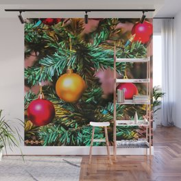 Christmas Tree With Fairy Lights and Ornaments Wall Mural