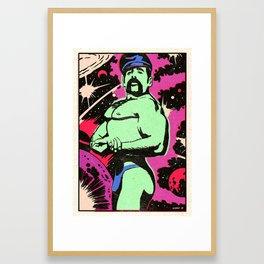 Intergalactic Biker Beefcake Framed Art Print