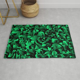 Explosive bright on color from spots and splashes of green paints. Rug