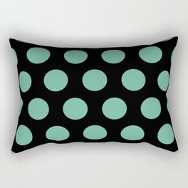 Colorful Mid Century Modern Polka Dots 528 Turquoise and Black Rectangular Pillow