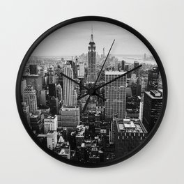 Black & White NYC Skyline Wall Clock