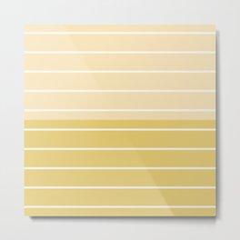 Two Tone Stripes - Yellow Metal Print