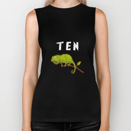 Kids 10 Year Old Lizard Reptile Birthday Party 10th Birthday Biker Tank