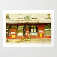 Harbor Fish Market Art Print