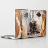 gemma correll Laptop & iPad Skins featuring Gemma the Golden Retriever by Barking Dog Creations Studio