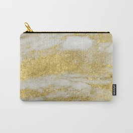 Marble - Glittery Gold Marble and White Pattern Carry-All Pouch
