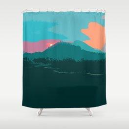 Harp's Hikes Sunset Logo Shower Curtain