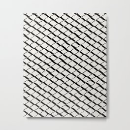 Modern Diamond Lattice 2 Black on Light Gray Metal Print