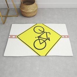 """""""Bicycles ahead"""" - 3d illustration of yellow roadsign isolated on white background Rug"""
