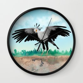 The Secretary Bird and the Snake - African Wildlife Creatures Wall Clock