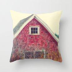 Red Coastal Cottage Throw Pillow