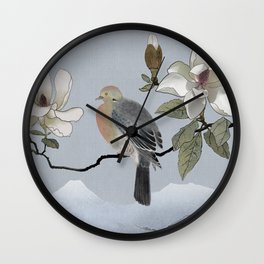 Mourning Dove And Magnolia Wall Clock