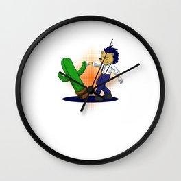 Halloween Cactus Wall Clock