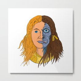 Hel Norse Goddess Face Front Drawing Color Metal Print