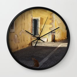The little cat in the street of Martigues France Wall Clock