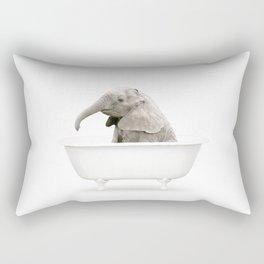 Baby Elephant in a Vintage Bathtub (c) Rectangular Pillow