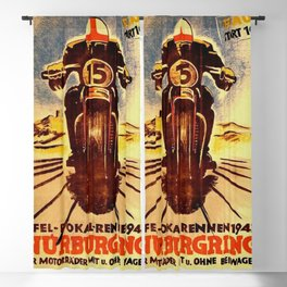 Vintage Nurburgring Nordschleife Motorcycle Racing Poster, Circa 1947 Blackout Curtain