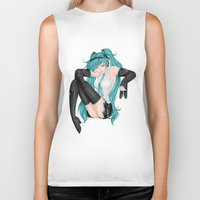 vocaloid Biker Tanks featuring Hatsune Miku by Stacy L Gage