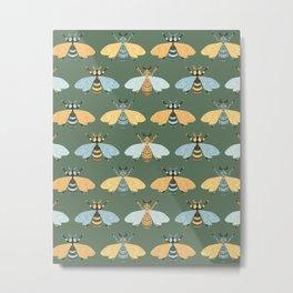 Honey Bees Pattern - Dark Green Backgound Metal Print