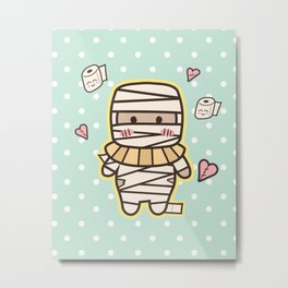 Kawaii Little Mummy Metal Print