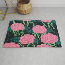 Pink Cabbage Roses Rug