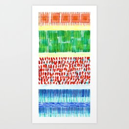 Joyful Stacked Patterns in High Format Art Print