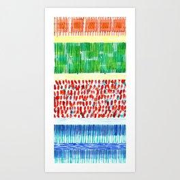 Joyful Stacked Patterns in High Format Art Print