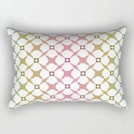 Floral Pattern with Rainbow Background Rectangular Pillow