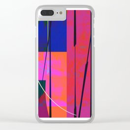 Modern Bold Pink Blue Orange Abstract Clear iPhone Case