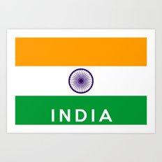 India country flag name text Art Print