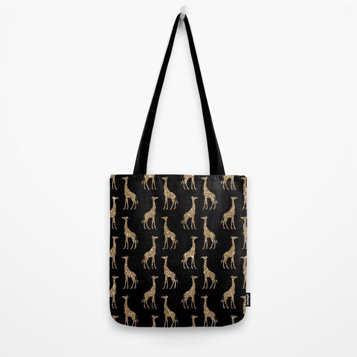 Black Gold Glitter Giraffe Pattern Tote Bag