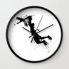 Basketball player dunking in ink Wall Clock