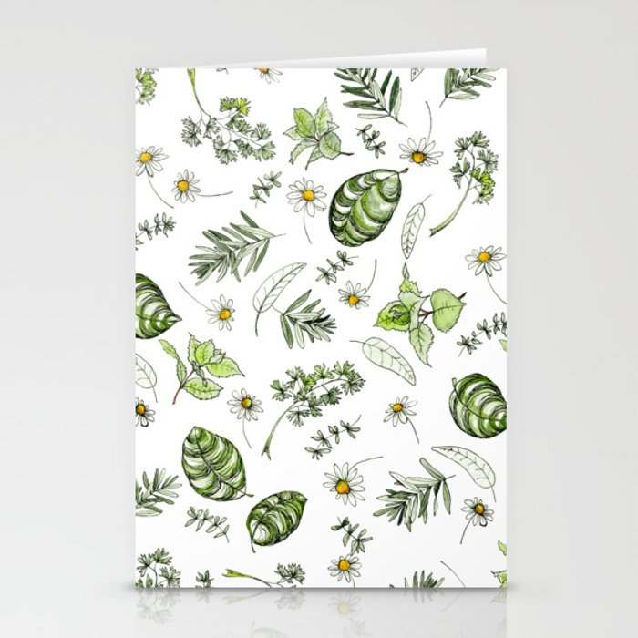 Scattered Garden Herbs Stationery Cards