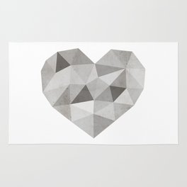 Fractal heart in shades of gray Rug