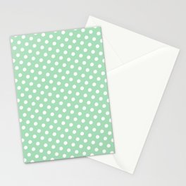 Green and White Circles Stationery Cards