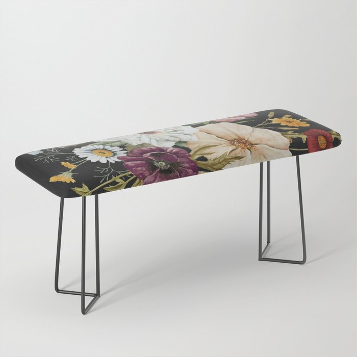 Colorful Wildflower Bouquet on Charcoal Black Bench