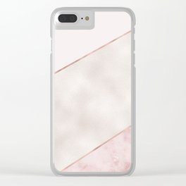 Spliced mixed pink marble and rose gold Clear iPhone Case