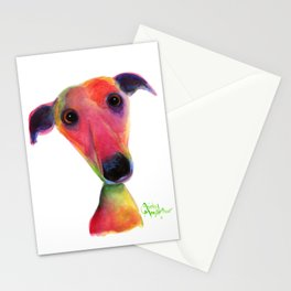 Nosey Dog Whippet Greyhound ' BERTA ' by Shirley MacArthur Stationery Cards