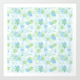 Blue and Green Floral Pattern Art Print