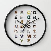 anaconda Wall Clocks featuring Star W. alphabet by Fabian Gonzalez