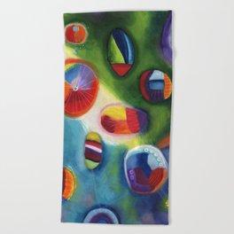 floating circles Beach Towel