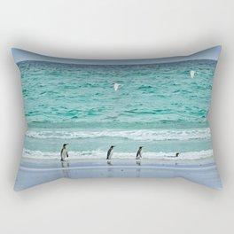 Falkland Island Seascape with Penguins Rectangular Pillow
