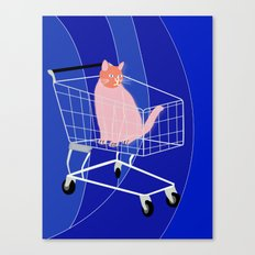 Cat in a cart Canvas Print