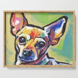 Fun Chihuahua Dog bright colorful Pop Art Serving Tray