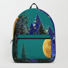 BLUE FOREST TEAL SKY MOON LANDSCAPE ART Backpack