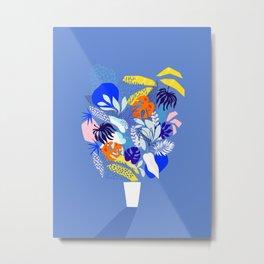 Keep Growing - Tropical plant on Blue Metal Print